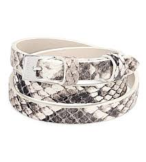 Snake print leather and silver wrap bracelet - Aspinal