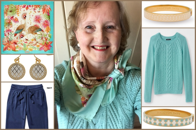Outfit of the day 01/05/18 with Ferragamo's Peacocks in Tropical Garden scarf