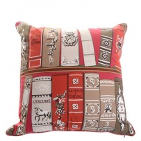 HERMES-Cotton-Bibliotheque-Decorative-Pillow-Red-NEW-1