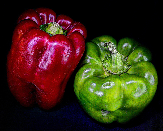 Red and Green Bell Peppers by Geoffrey Coelho on Flickr