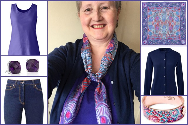 Outfit of the day 28/08/18 with Liberty's purple Hera scarf