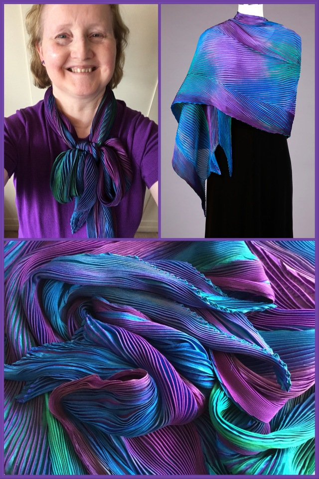 Shibori silk shawl by Cathayana