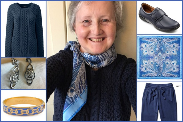 Outfit of the day 24/09/18 with Liberty's blue Hera scarf