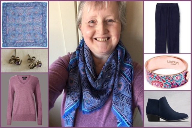 Outfit of the day 29/10/18 with Liberty's Hera shawl