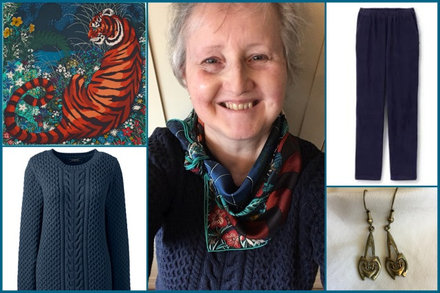 Outfit of the day 04/10/18 with Hermès' Tyger,Tyger scarf