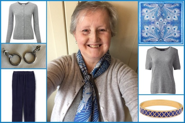 Outfit of the day 22/11/18 with Liberty's blue Hera scarf
