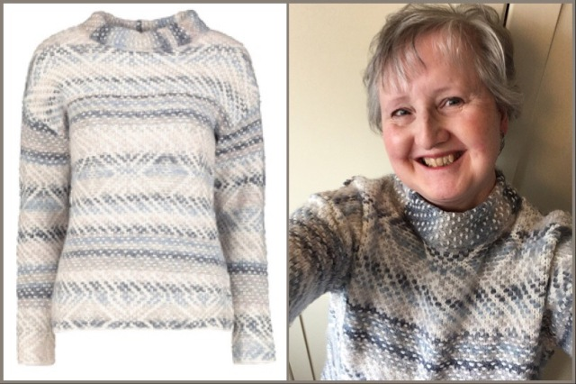 Jumper in grey, ivory and blue - Sainsbury's Tu
