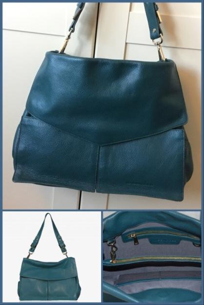 Minerva handbag in teal pebbled leather - Massaccesi