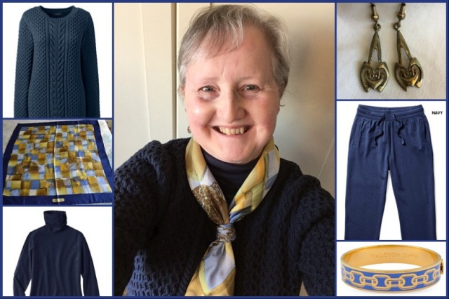 Outfit of the day 14/12/18 with Ferragamo navy leopard scarf