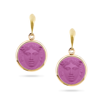 Violet resin and gold earrings - Grand Tour Collection