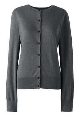 Charcoal heather cardigan - Lands' End