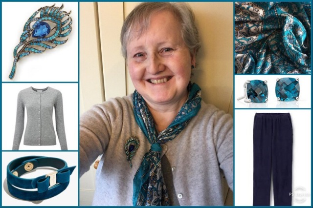 Outfit of the day 25/01/19 with silk scarf in teal, white and grey
