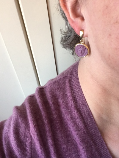 The earrings match this cashmere jumper!