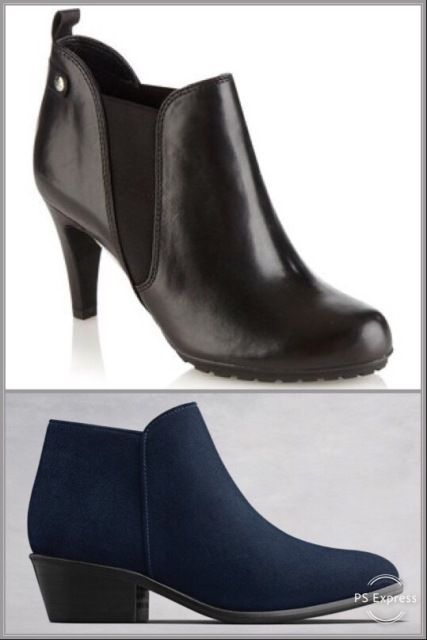 Black boots by Clarks, navy by Duo Boots